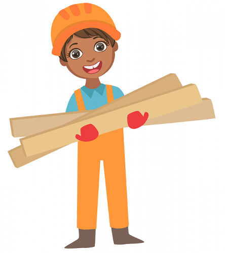 woman holding construction lumber